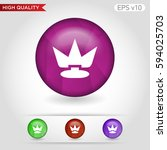 colored icon or button of crown ... | Shutterstock .eps vector #594025703