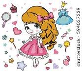 vector illustration of little... | Shutterstock .eps vector #594027239