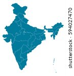 india blue map vector | Shutterstock .eps vector #594027470
