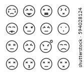 emoticon icon vector set | Shutterstock .eps vector #594028124