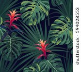 exotic tropical background with ... | Shutterstock .eps vector #594028553