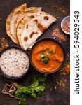 hot spicy chicken tikka masala... | Shutterstock . vector #594029543