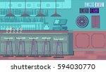 bar restaurant with counter in... | Shutterstock .eps vector #594030770