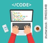 programmer coding on laptop... | Shutterstock .eps vector #594031448
