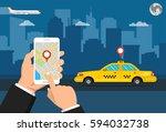 booking taxi via mobile app....   Shutterstock .eps vector #594032738