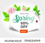 spring sale background with... | Shutterstock .eps vector #594034949