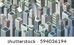 futuristic isometric green city ... | Shutterstock .eps vector #594036194