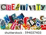 the word 'creativity' build... | Shutterstock . vector #594037403