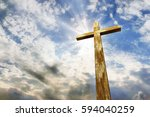 cross against the sky. happy... | Shutterstock . vector #594040259