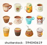 set of colorful warm tea cups... | Shutterstock .eps vector #594040619