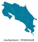 costa rica blue map vector   Shutterstock .eps vector #594043628