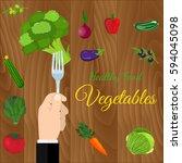 fresh organic food. set of... | Shutterstock . vector #594045098