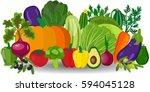 fresh organic food. set of... | Shutterstock . vector #594045128