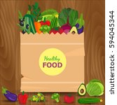healthy vegetables and... | Shutterstock . vector #594045344