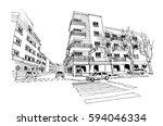 vector sketch of street scene... | Shutterstock .eps vector #594046334