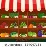 local vegetable stall. fresh... | Shutterstock . vector #594047156