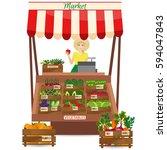 female worker of grocery store...   Shutterstock . vector #594047843