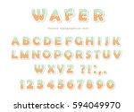 wafer font. cute sweet letters... | Shutterstock .eps vector #594049970