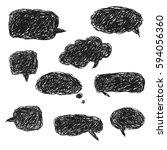set of blank black hand drawn... | Shutterstock .eps vector #594056360