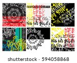 hands draw abstract background. ... | Shutterstock .eps vector #594058868