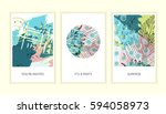 universal floral posters set....   Shutterstock .eps vector #594058973