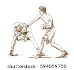 sketch of boxing player playing ...   Shutterstock .eps vector #594059750