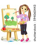 artist girl painting on canvas... | Shutterstock .eps vector #594060443