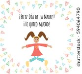 vector card with text happy...   Shutterstock .eps vector #594064790