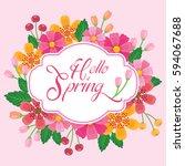 hello spring green card design  ... | Shutterstock .eps vector #594067688