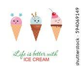 kawaii ice cream cone... | Shutterstock .eps vector #594069149