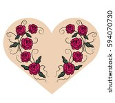 red roses and heart vector... | Shutterstock .eps vector #594070730