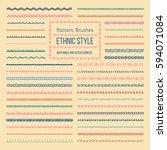 set of vector pattern brushes... | Shutterstock .eps vector #594071084