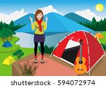 alone girl traveling in mountain | Shutterstock .eps vector #594072974