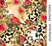 seamless pattern ethnic design. ... | Shutterstock . vector #594075344