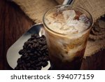 latte ice coffee and coffee... | Shutterstock . vector #594077159