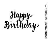 happy birthday hand drawn...   Shutterstock .eps vector #594081374