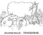 black and white cartoon... | Shutterstock .eps vector #594084848
