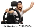 Angry Teenage Driver Holding A...
