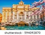 fountain di trevi in rome at... | Shutterstock . vector #594092870