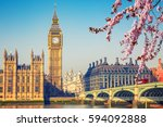 Small photo of Big Ben and westminster bridge in London at spring