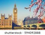 big ben and westminster bridge... | Shutterstock . vector #594092888