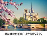 notre dame de paris at spring ... | Shutterstock . vector #594092990