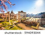 roman ruins in rome at spring ... | Shutterstock . vector #594093044
