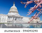 us capitol over blue sky with... | Shutterstock . vector #594093290
