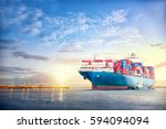 international container cargo... | Shutterstock . vector #594094094