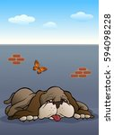 illustration of a lazy brown... | Shutterstock .eps vector #594098228
