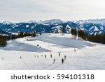 sunny view of ski slope near... | Shutterstock . vector #594101318