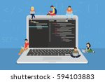 young programmers coding a new... | Shutterstock .eps vector #594103883