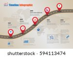 design template  road map... | Shutterstock .eps vector #594113474