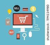 flat style mobile online e... | Shutterstock .eps vector #594114980